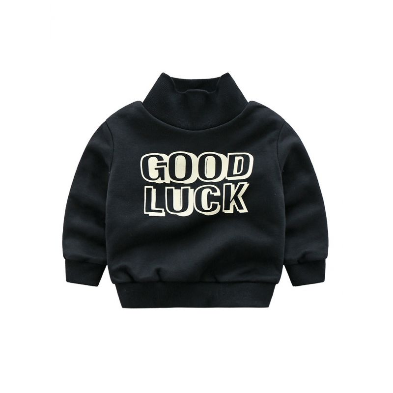 6PCS/PACK Classic High Collar Good Luck Fleece-lined Jumper Toddler Boys Kids Sweatshirt for Winter
