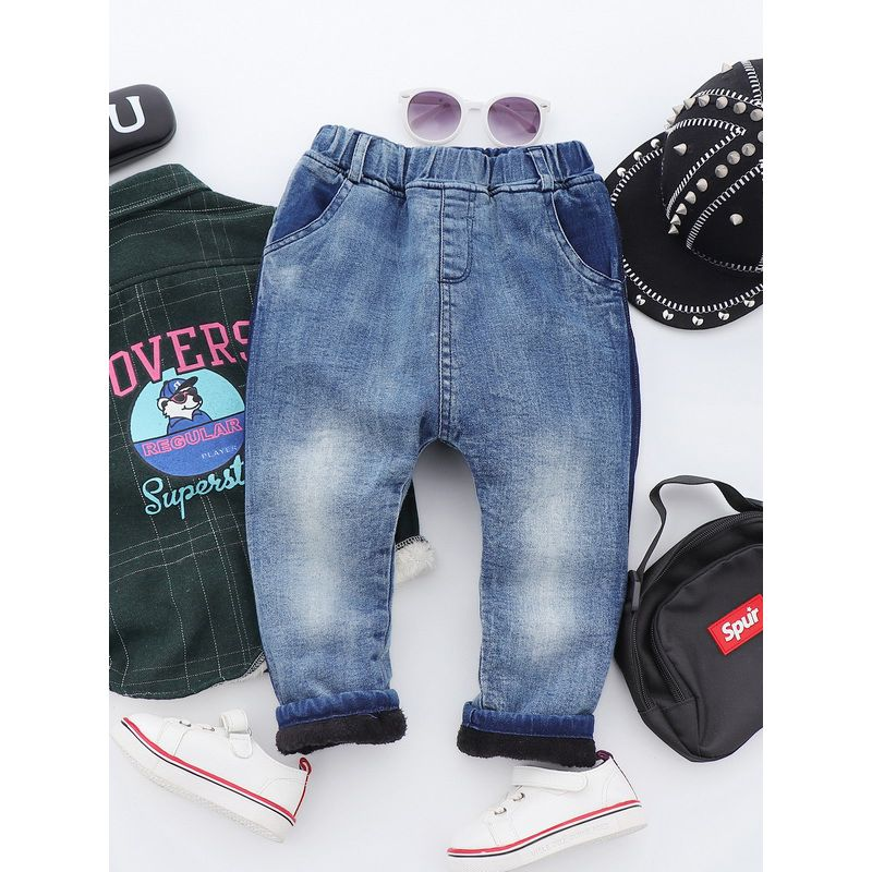 5PCS/PACK Boys Kids Letters Print Thick Fleece-lined Long Pants Children Winter Warm Trousers