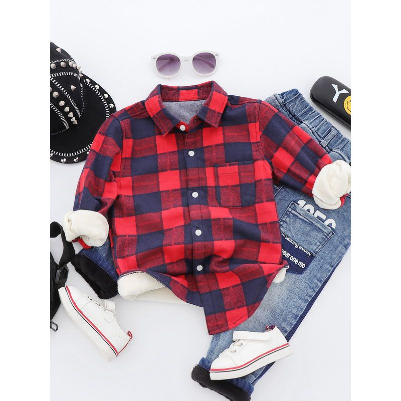 6PCS/PACK Letters Checked Asymmetrical Hem Fleece-lined T-shirt Toddler Big Boy Winter Clothes Top