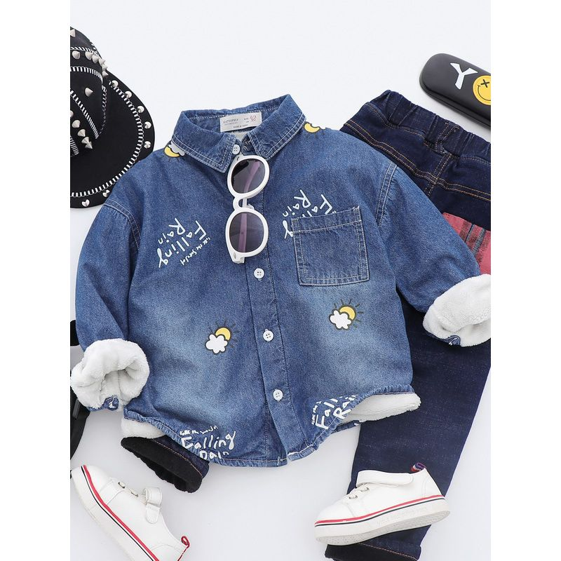 6PCS/PACK Letters Sun Cloud Fleece-lined Jacket Shirt Toddler Big Kids Thick Winter Apparel Top
