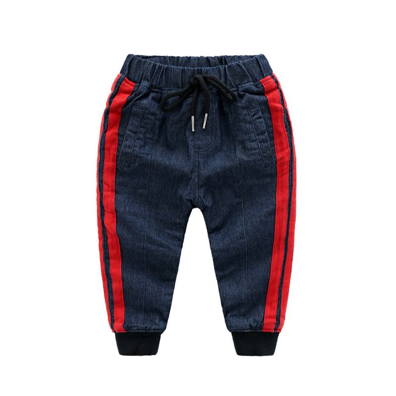 5PCS/PACK Side Striped Fleece-lined Kids  Thick Warm Trousers Toddler Big Children Winter Pants Outwear