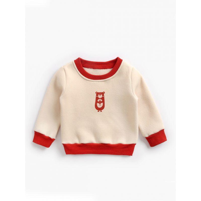 Cartoon Bear Color Blocking Fleece-lined Jumper Baby Toddler Kids Sweatshirt