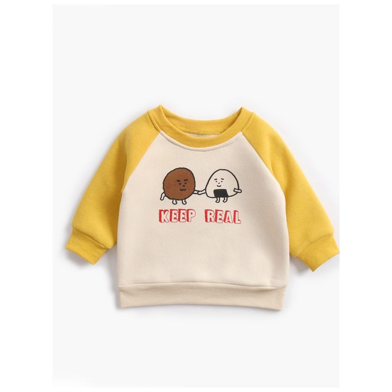 Cartoon Keep Real Letters Color-blocking Fleece-lined Pullover Infant Toddler Boys Girls Jumper