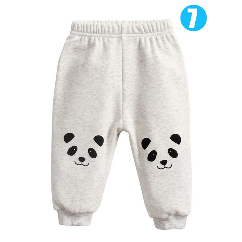 Adorable Infant Cartoon Animal Fleece-lined Pants Kids Winter Warm Trousers Lion/Panda/Fox/Bunny