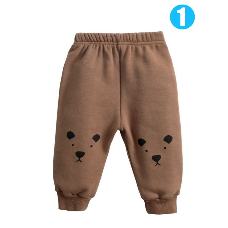 Cute Cartoon Animal Fleece-lined Winter Trousers Baby Warm Thick Pants Pig/Sika Deer/Sheep/Bear