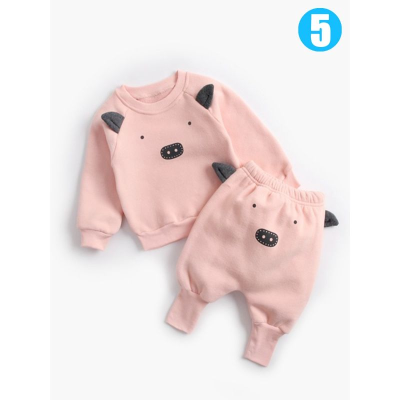 2-piece Infant Boys Girls Cartoon Animal Fleece-lined Winter Clothing Outfit Set Animal Pattern Sweatshirt Top+Thick PP Pants