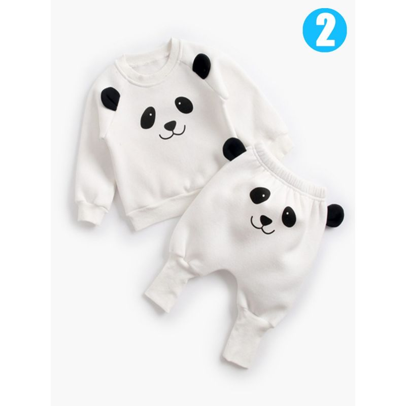 2-piece Baby Boys Girls Cartoon Animal Fleece-lined Winter Clothes Outfit Set Animal Pattern Jumper Top+Thick PP Pants