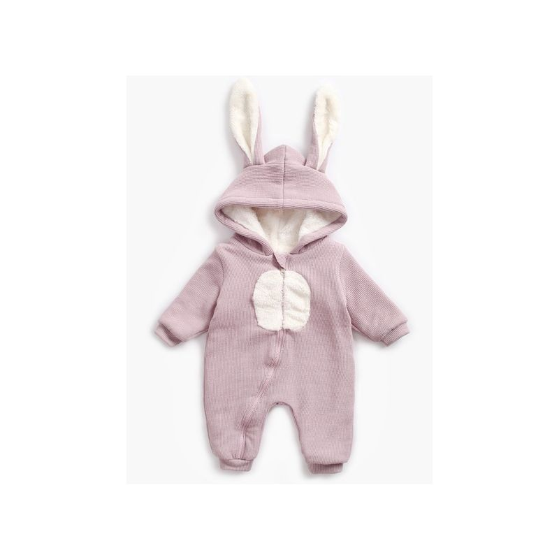Winter Adorable Fleece-lined Bunny Ear Pattern Infant Romper Pajama with Zipper