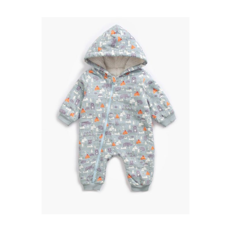 Cartoon Owl Hedgehog Trees Print Fleece-lined Hoodie Baby Romper Jumpsuit with Zipper for Winter