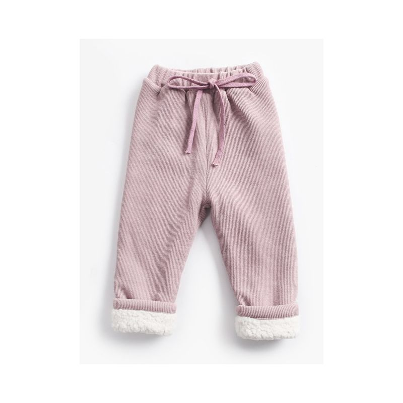 Solid Color Berber Fleece Rib Baby Toddler Kids Thick Warm Pants Children Winter Trousers