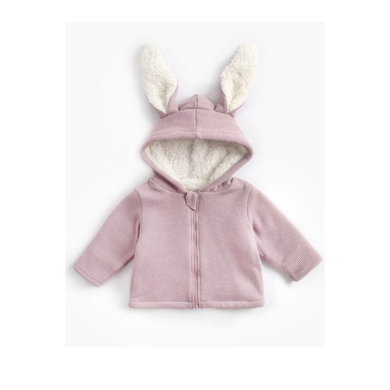 Baby Girls Hooded Coat Jacket Toddler Kids Plush Outfit Rabbit Ear Hoodies 0-4Y