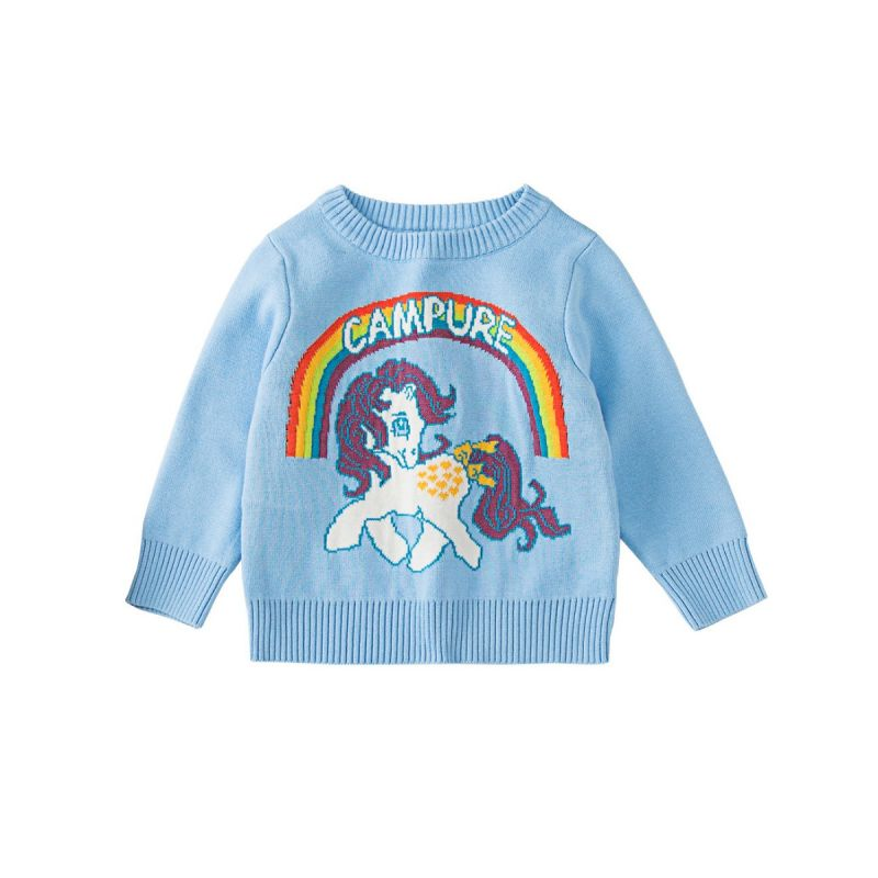 Rainbow Horse Crochet Sweater Baby Toddler Big Boys Girls Knitted Pullover