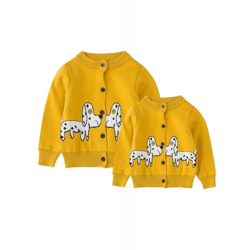 Mom and Me Dog Crochet Cardigan Spring Autumn Knitted Outwear Top