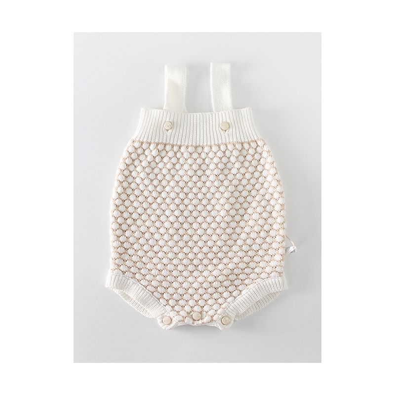 Spanish Style Crochet Dots Suspender Cotton Baby Romper Onesie Outwear