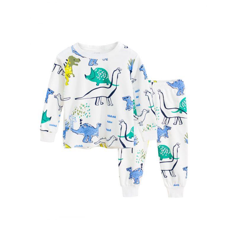 2PCS Cartoon Dinosaur Pajama Homewear Set T-shirt Top+Long Pants for Toddler Big Kids