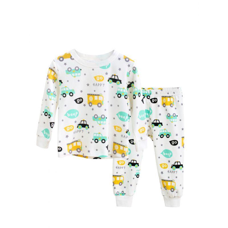 2PCS Cartoon Cars Pajama Homewear Set T-shirt Top+Long Pants for Toddler Big Kids