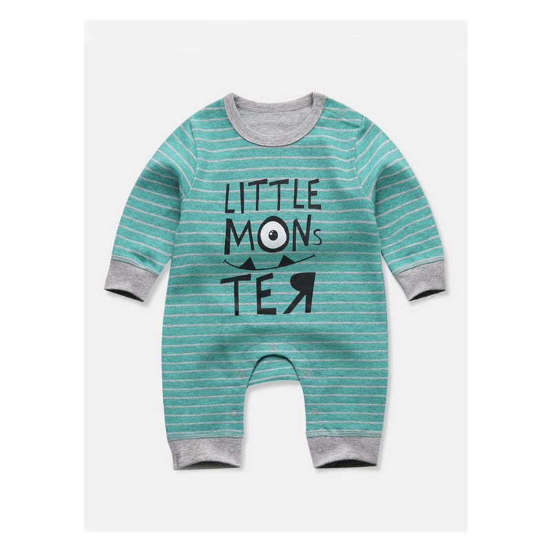 Striped Little Mons Te Print Baby Romper Infant Cotton Jumpsuit