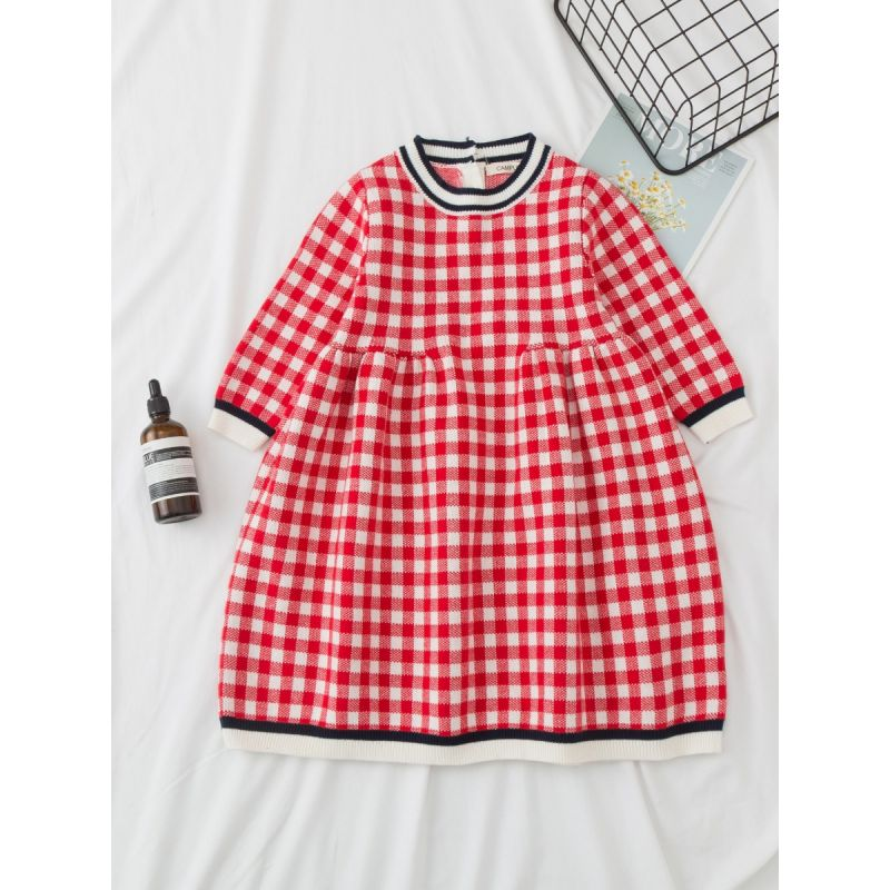 British Style Baby Toddler Girls One-Piece Checked Dress for Spring Autumn