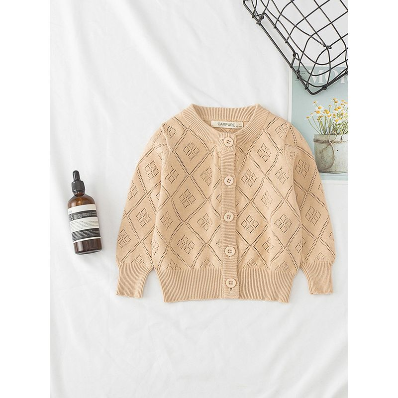 Classic British Style Pierced Rhombic Cotton Cardigan Infant Toddler Big Kids Knitted Shirt