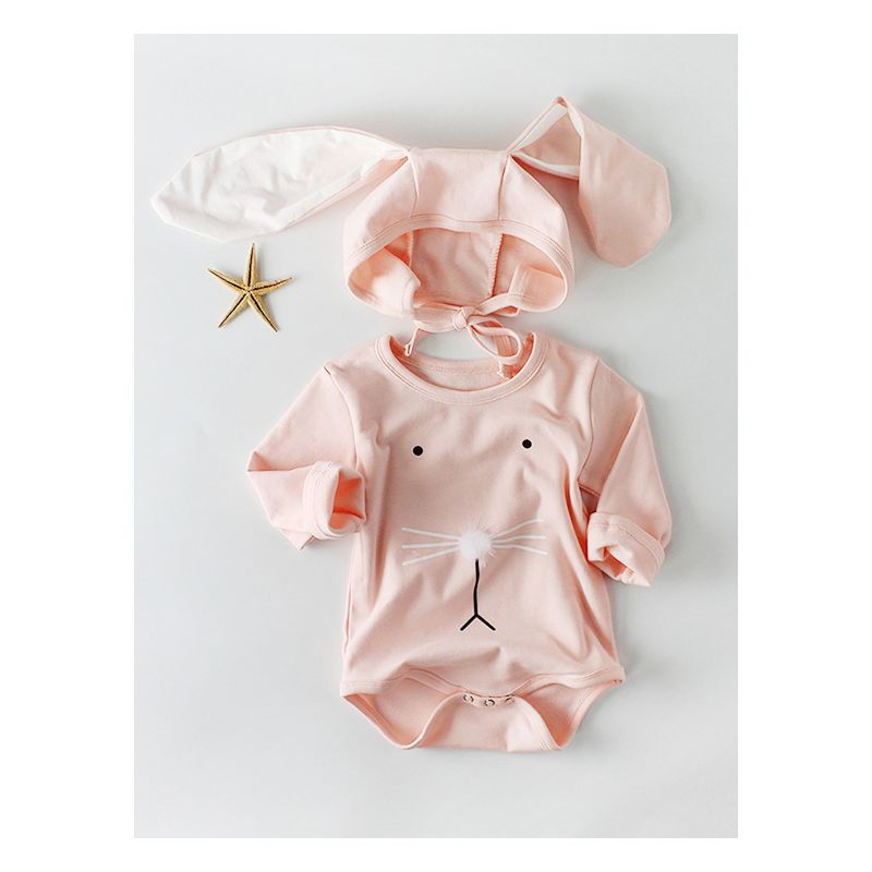 0e83d6a79 2PCS Spanish Style Baby Easter Bunny Clothes Set Long Sleeve Cotton Romper+Bunny  Ear Detachable