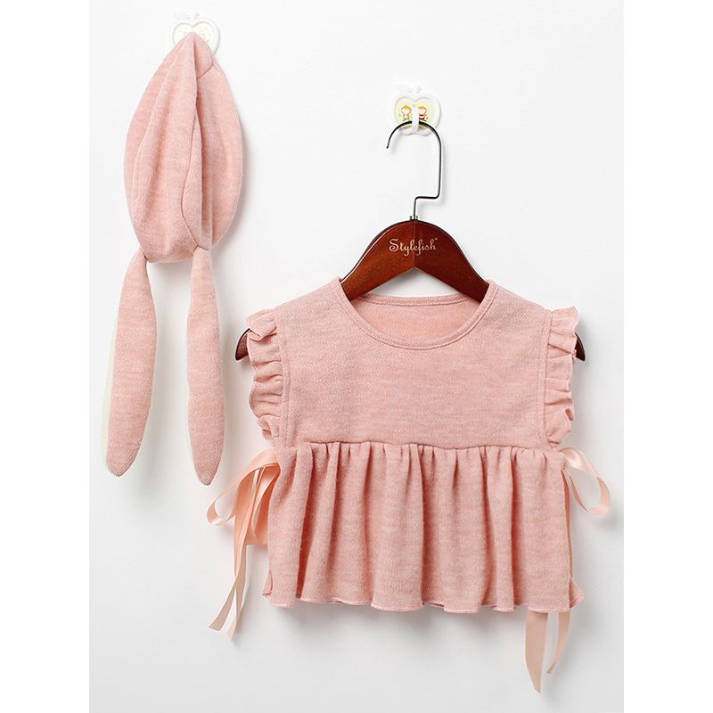 Spanish Style Ruffled Baby Vest with Bunny Ear Hat