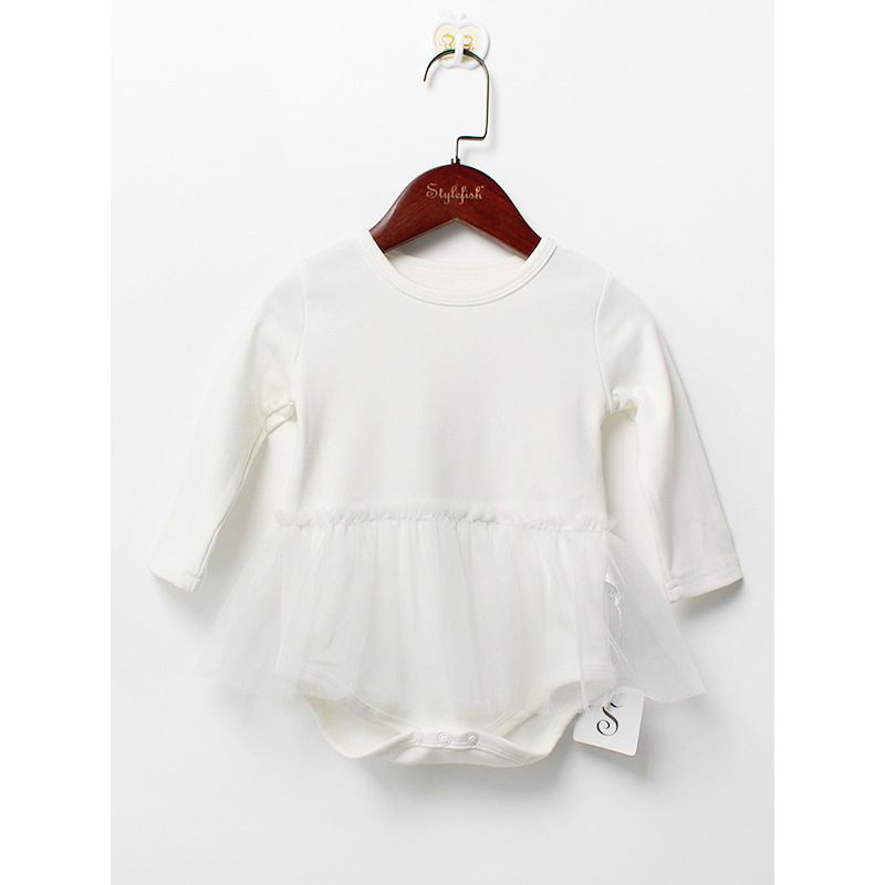 White Christening & Baptisms Baby Tulle Romper Long Sleeve