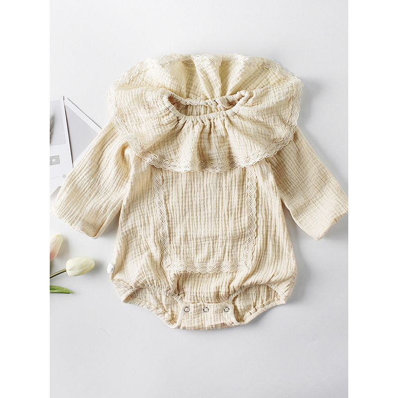 Ruffled Lace Trimmed Collar Baby Romper Onesie Spanish Style Baby Clothes