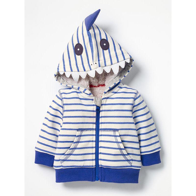 Cartoon Shark Striped Fleece-lined Jacket with Kangaroo Pocket Baby Boy Children Thick Coat Outwear for Winter