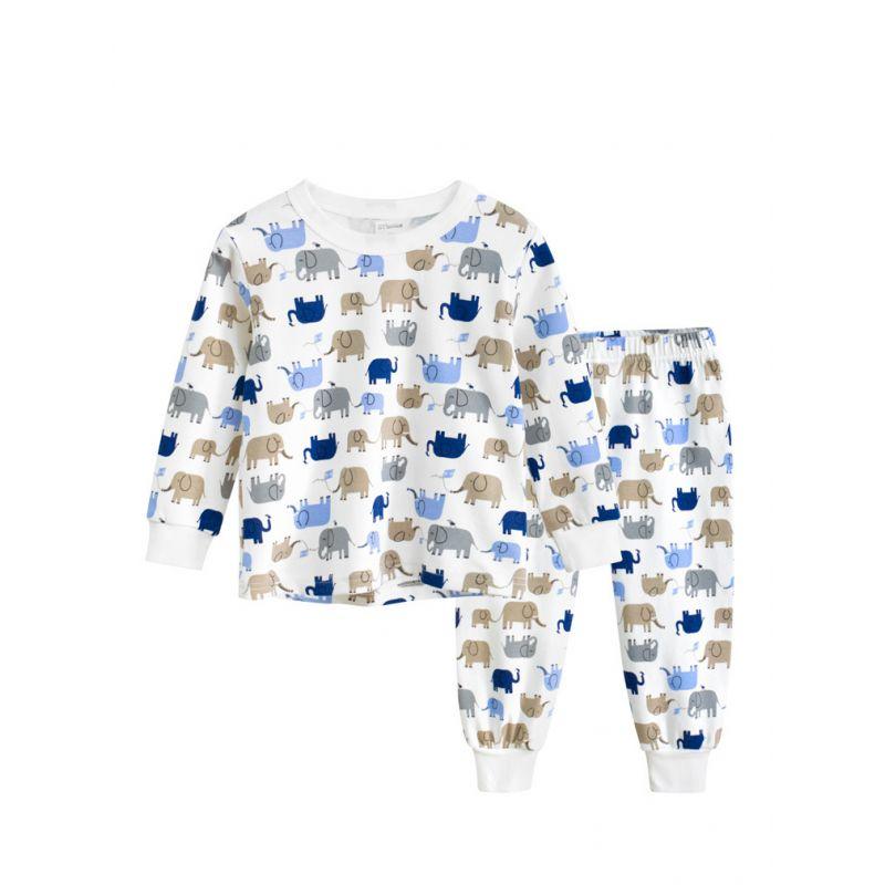 2PCS Cartoon Elephant Toddler Kids  Pajama Homewear Set T-shirt Top+Long Pants