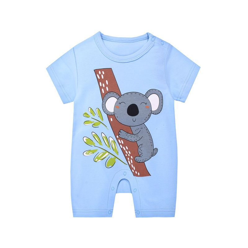 Cute koala Summer Newborn Baby Romper Onesie Short Sleeve Infant Cotton Playsuit Blue