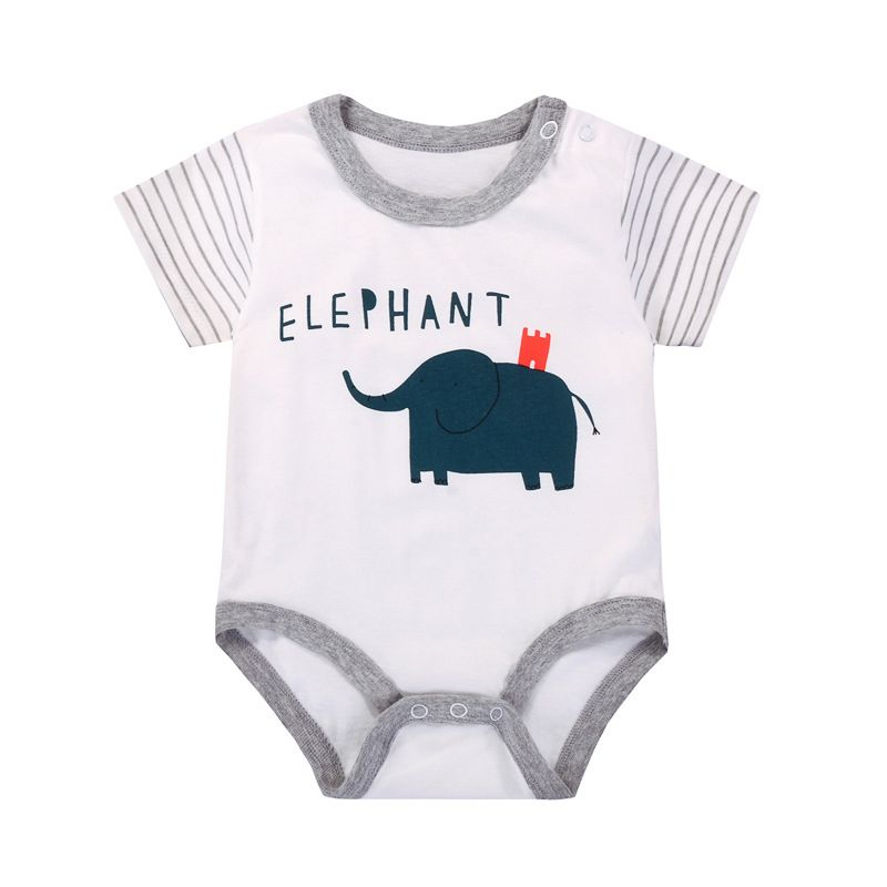 ab16676ff9 Cartoon Elephant Newborn Infant Romper Cotton Onesie Baby Summer Playsuit