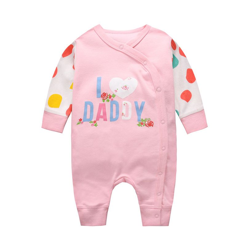 I LOVE DADDY Newborn Baby Jumpsuit Buttoned Cotton Infant Romper Pajama