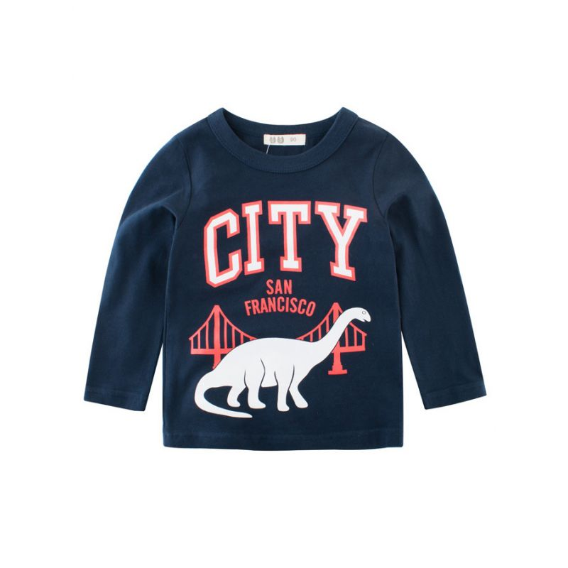 Cool Cartoon CITY Cotton T-shirt Boys Big Kids Pullover Top for Spring
