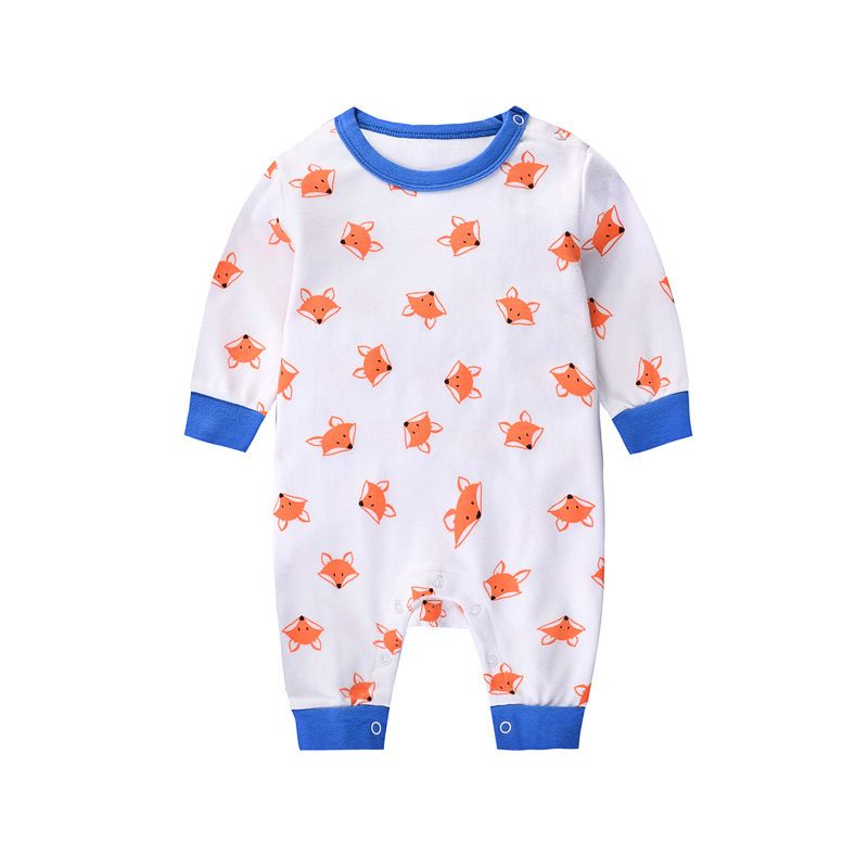 Cartoon Fox Newborn Boys Girls Romper Pajamas Cotton Playsuit