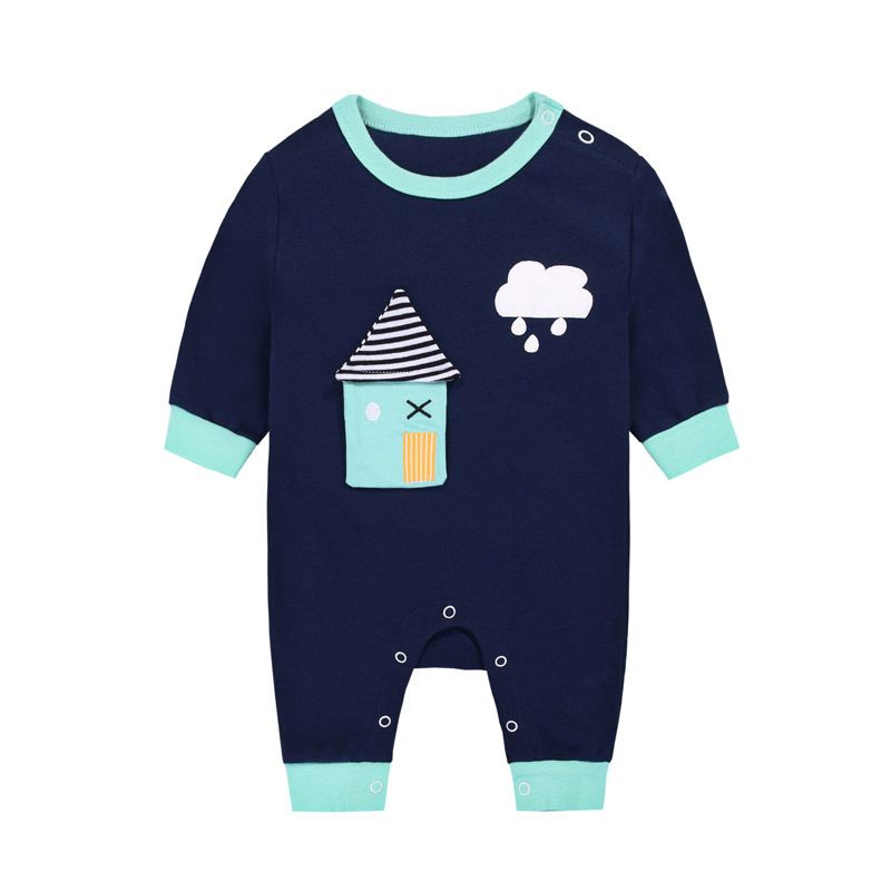 Cartoon House Newborn Baby Romper Jumpsuit Infant Cotton Pajama