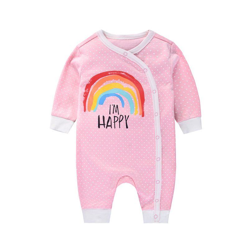 Buttoned Rainbow Newborn Baby Romper Pajama Infant Spring Autumn Playsuit
