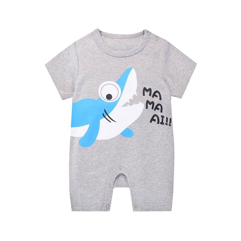 Shark Newborn Baby Romper Shorts Cotton Infant Summer Bodysuit