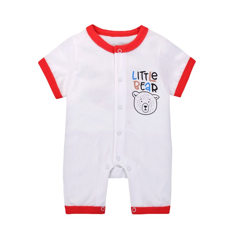 LITTLE BEAR Buttoned Newborn Baby Cotton Romper Infant Summer Bodysuit