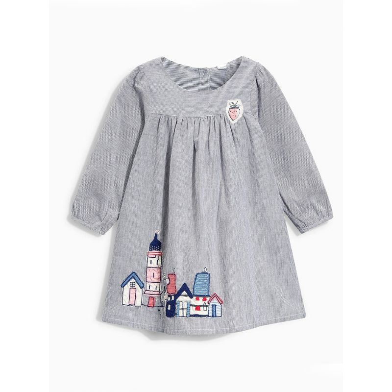 Striped Cartoon House Toddler Big Kids Casual Dress Long Sleeve for Spring Autumn