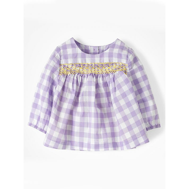 Spanish Style Cute White and Purple Checked Blouse Shirt Top for Toddler Big Girls