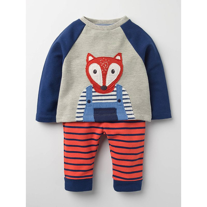 2-Piece Toddler Big Boys Casual Boys Clothes Outfit Set Fox Pattern Color-blocking Jumper Pullover+Striped Long Pants