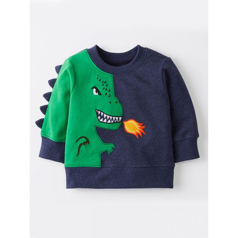 Cute Cartoon Dinosaur Pattern Color Block Sweatshirt Baby Big Boy Jumper Long Sleeve