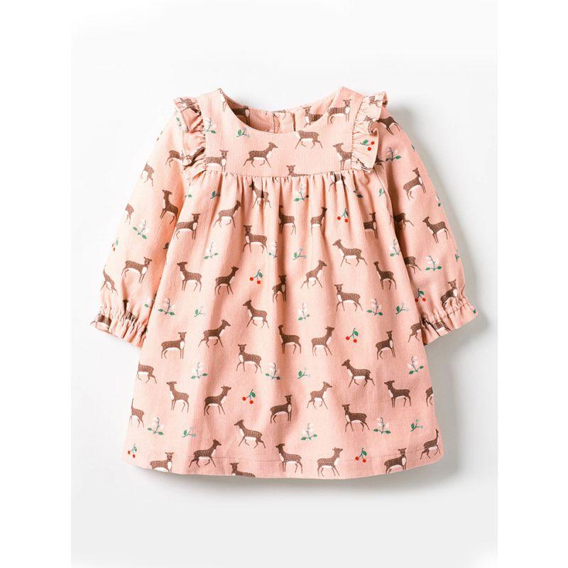 Cartoon Deer Cherry Flutter Sleeve Casual Dress Spring Autumn Children One-piece Dress