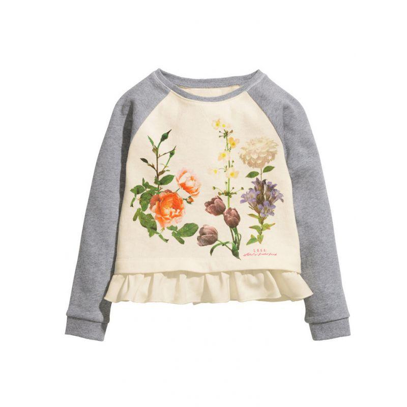 Floral Ruffled Hem Trimmed Color-blocking Jumper Pullover Top for Toddler Big Kids