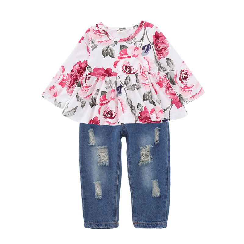 2PCS Baby Toddler Girl Clothes Set Outfit Floral Ruffled Shirt Top +Ripped Jeans