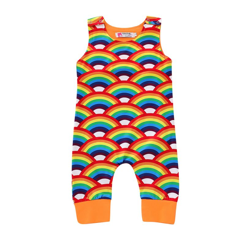 Cute Newborn Infant Sleeveless Rainbow Romper Jumpsuit