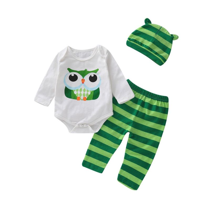 3PCS Baby Romper Pants Set Outfit Owl Long Sleeve Romper+Striped Long Pants+Animal Ear Hat