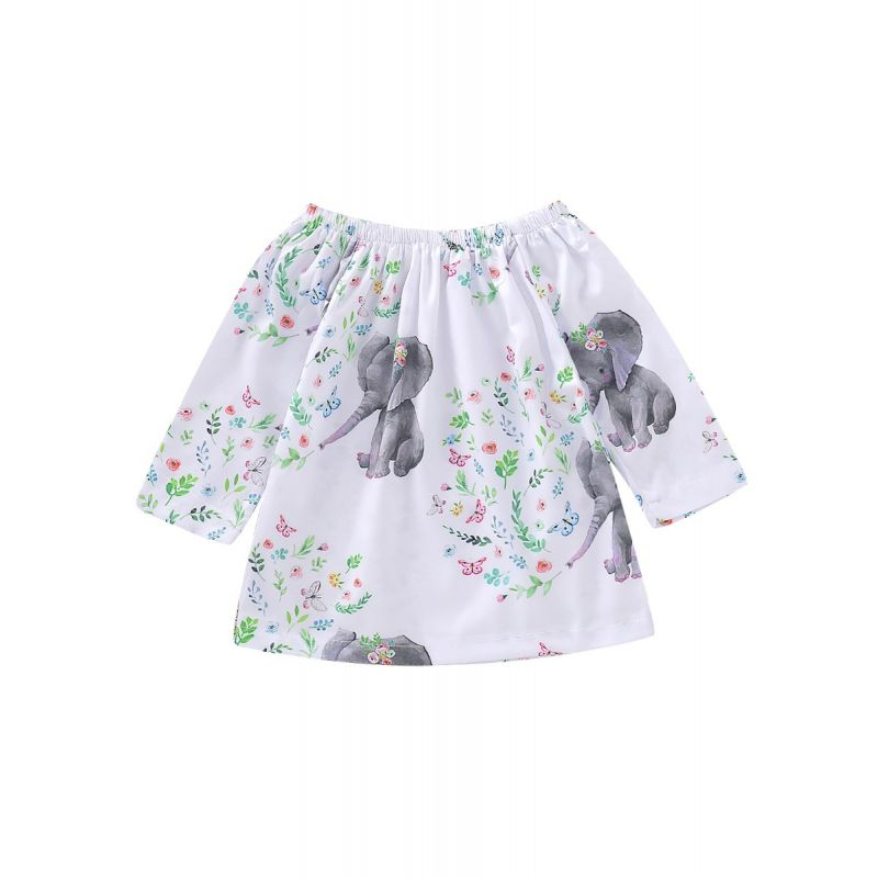 Baby Toddler Kids Floral Butterfly Elephant Off Shoulder Dress Children Casual One-piece Dress