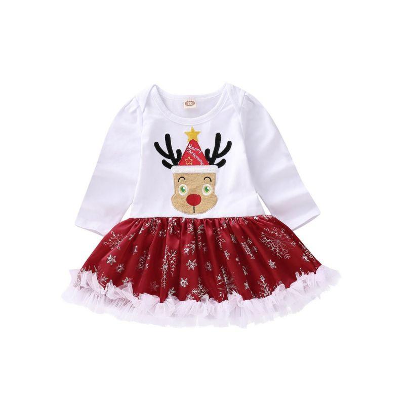 Infant Toddler Girls Lace Trimmed Reindeer Ruffled Christmas Romper Dress