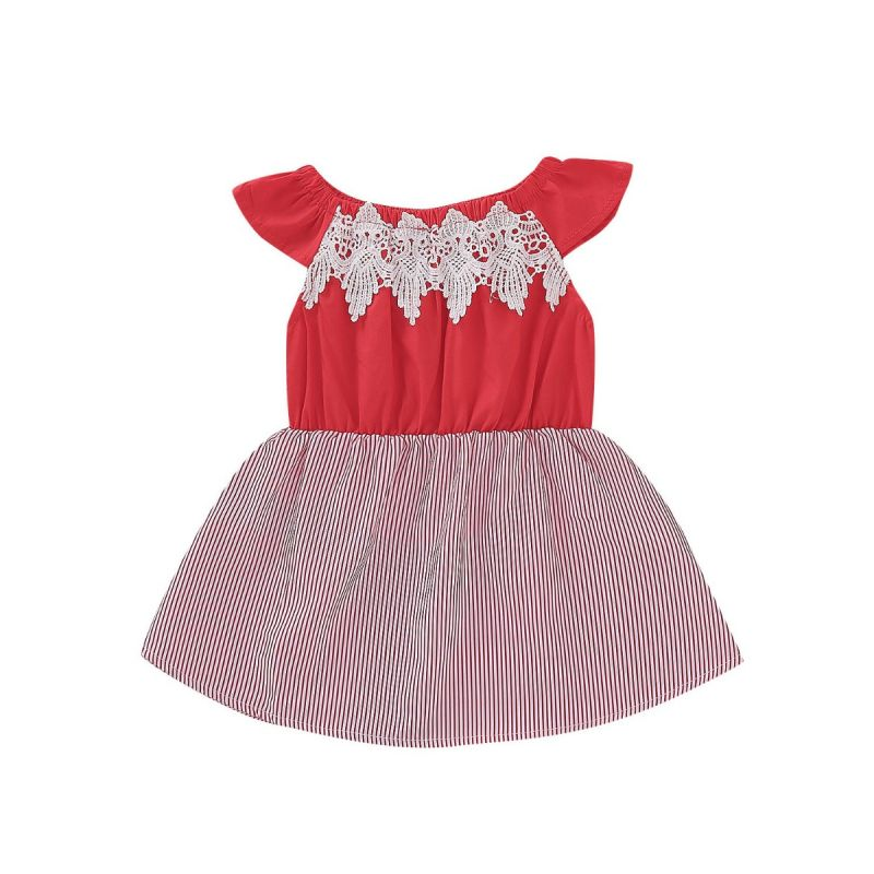 Off Shoulder Lacework Trimmed Striped Dress Baby Girl Summer Casual One-piece Dress
